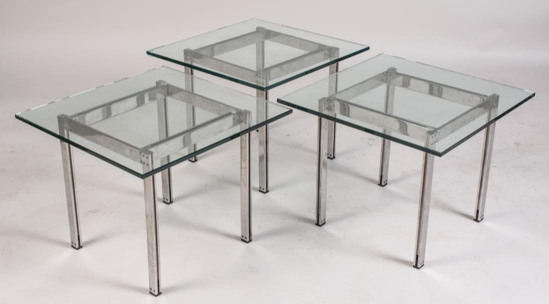 Set of Three Glass Top Low Tables