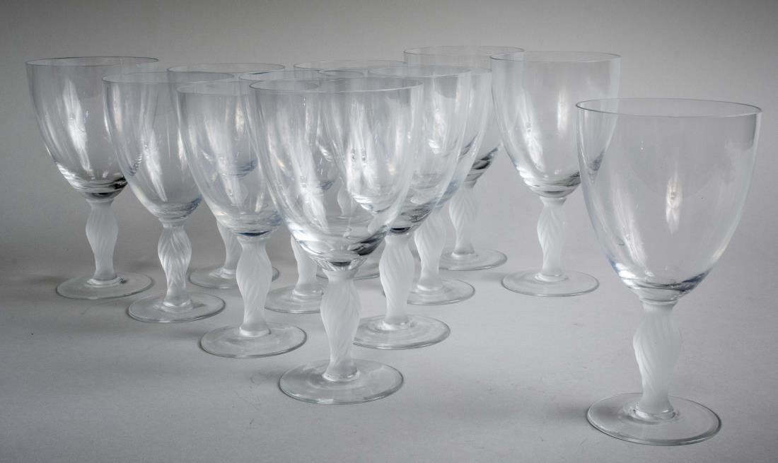 Set of Twelve Lalique Style Wine Glasses