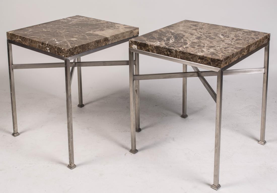 Pair of Marble Top Metal Side Tables