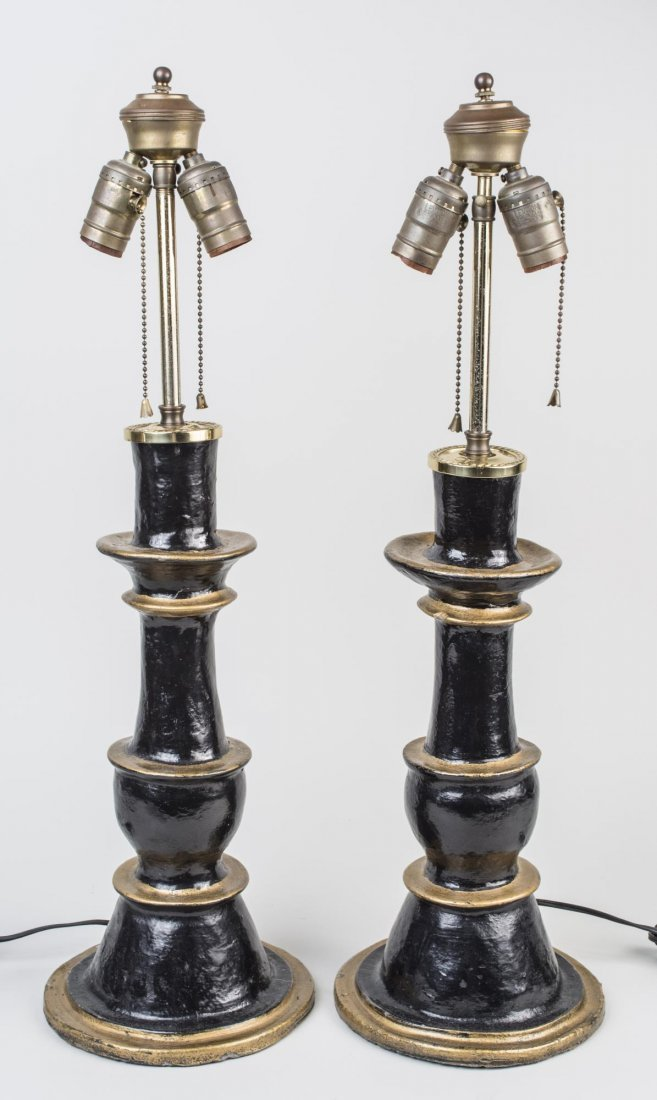 Pair of Black and Gold Painted Table Lamps
