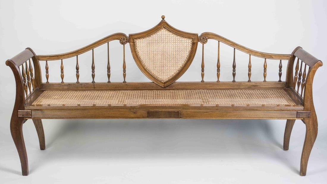 Neoclassical Style Caned Bench