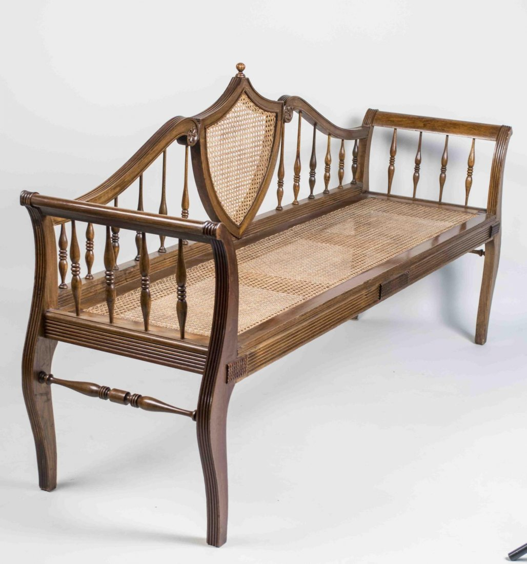 Neoclassical Style Caned Bench - 2