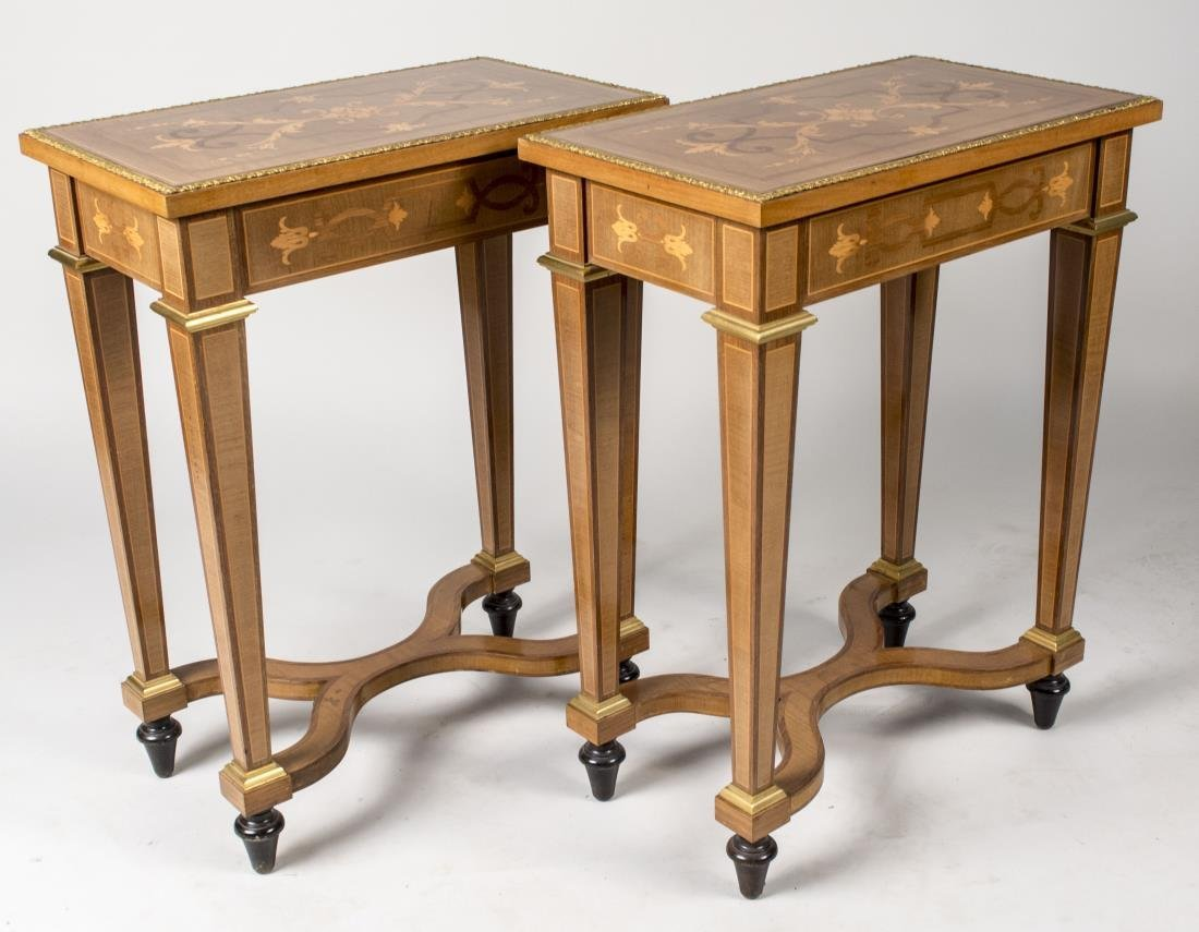 Pair of Continental Marquetry Side Tables
