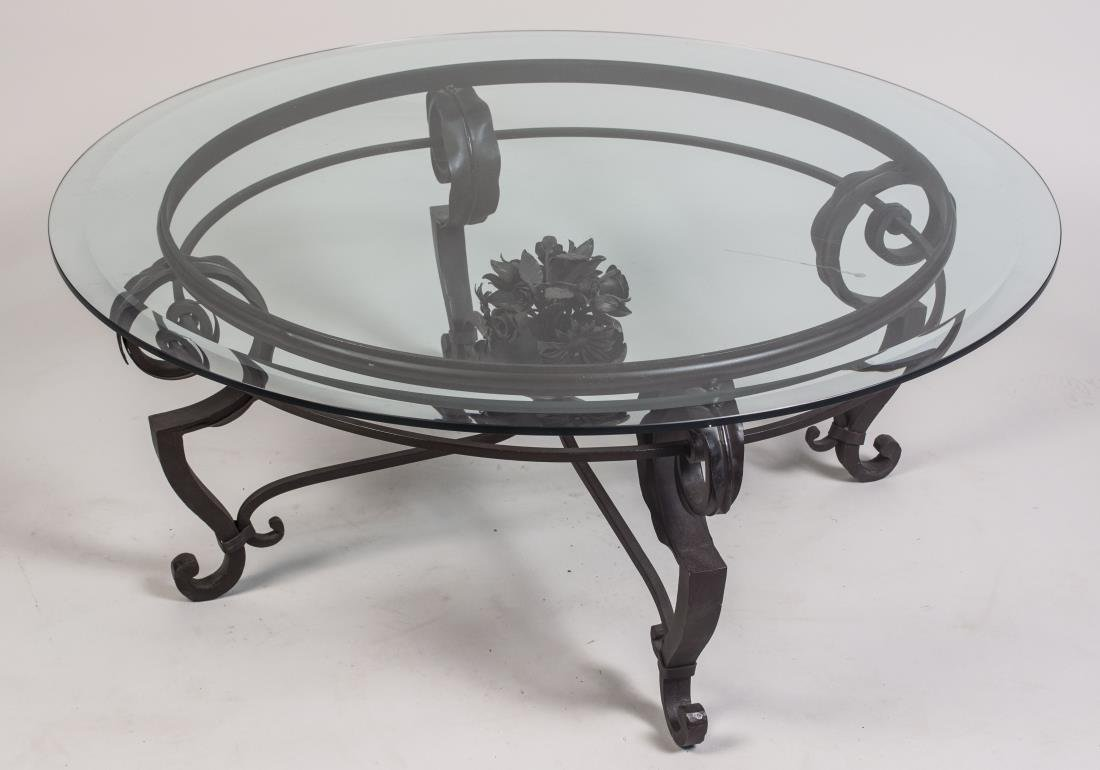 Glass Top Iron Coffee Table