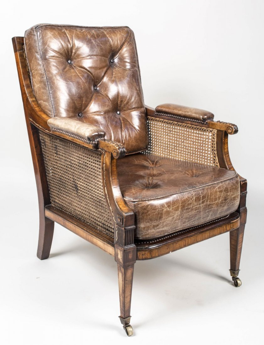 Victorian Mahogany and Caned Library Chair