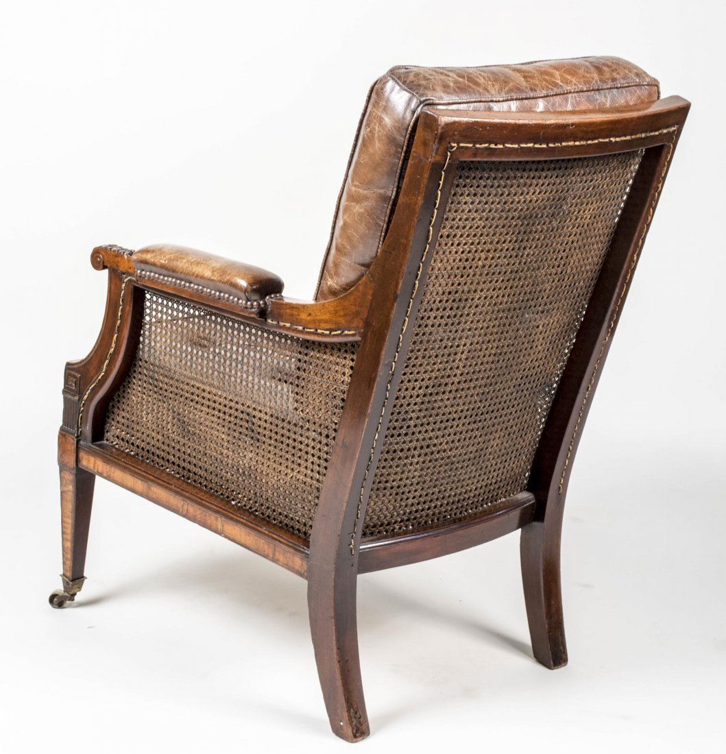 Victorian Mahogany and Caned Library Chair - 2