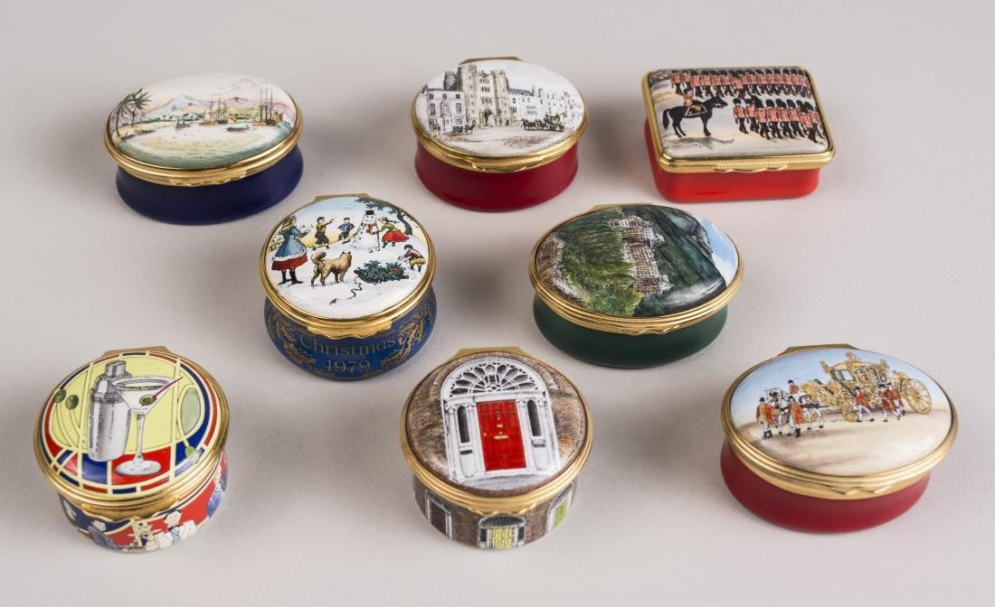 Group of Eight Halcyon Days Enamel Trinket Boxes