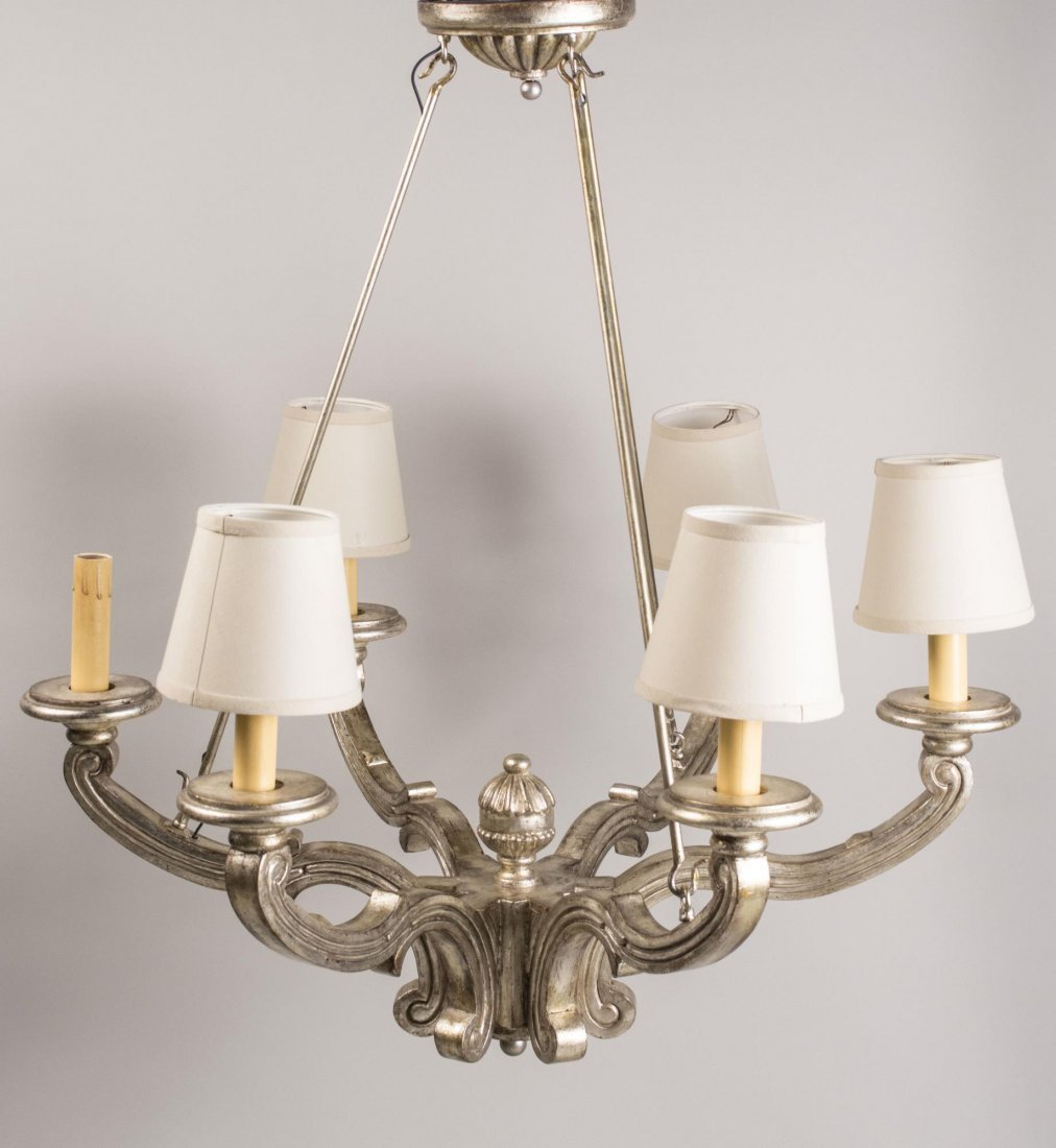 Silvered Wood Chandelier