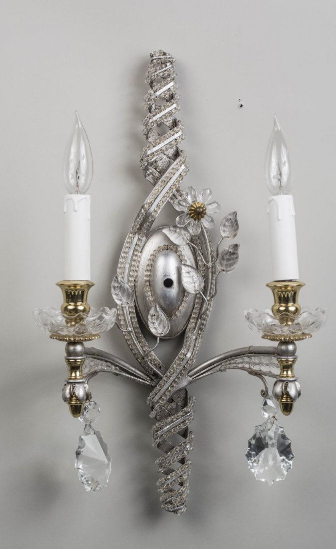 Pair of Ornate Crystal Wall Sconces