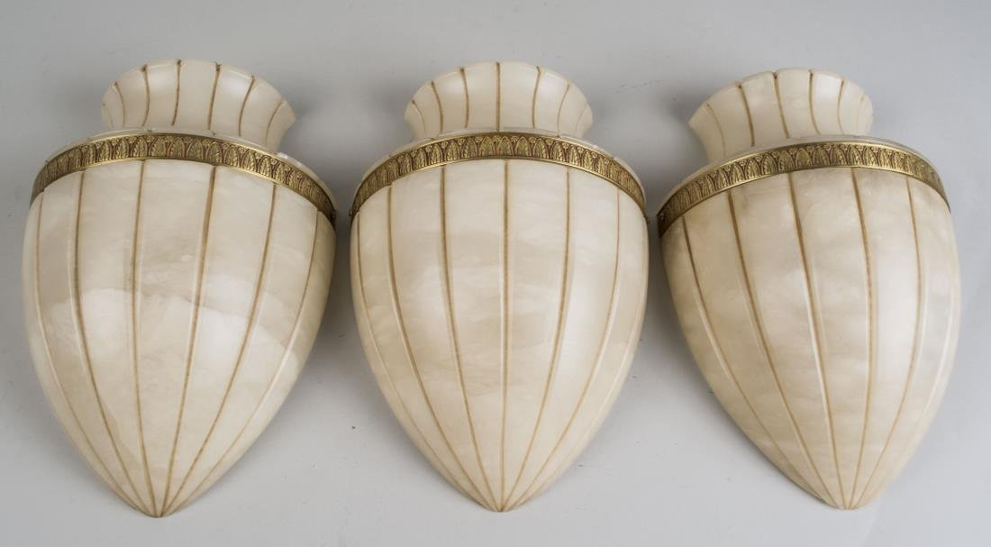 Set of Three Alabaster Wall Sconces