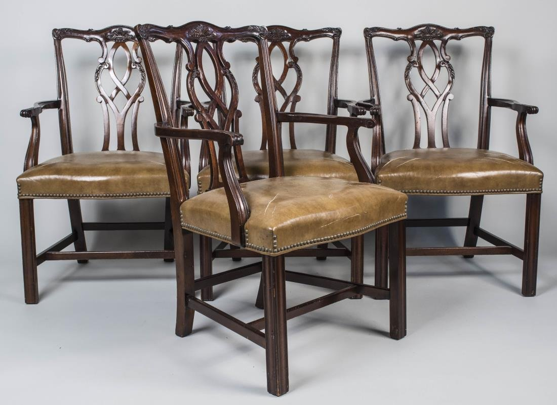 Set of Four Chippendale Style  Armchairs