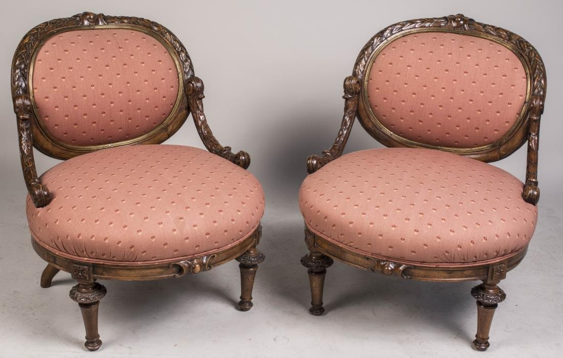 Pair of Bronze Trim Slipper Chairs