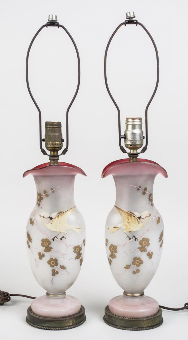 Pair of Victorian Peachblow Art Glass Vases
