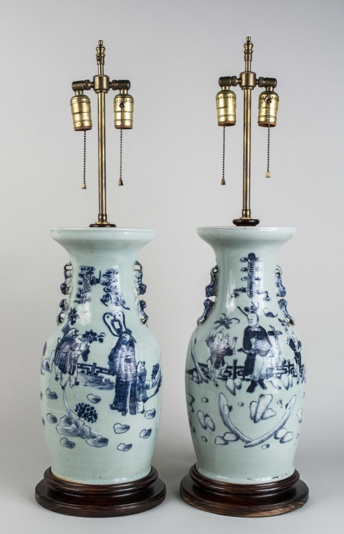 Pair of Chinese Porcelain Vase /  Lamps