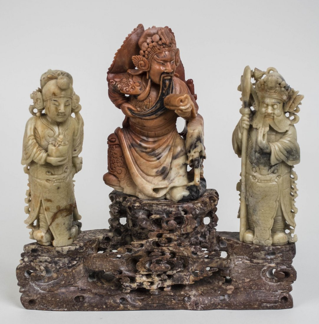 Chinese Carved Hardstone Figure Group
