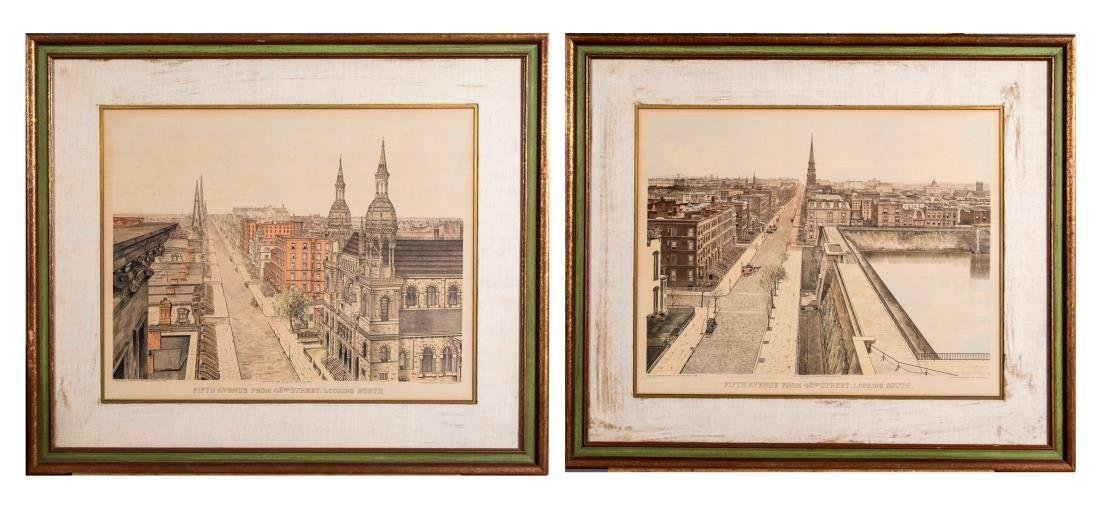 Pair of Lithographs of Old New York