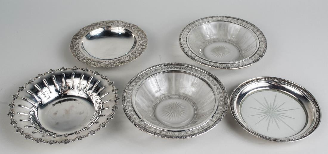 Group of Silver & Silver Mounted Dishes