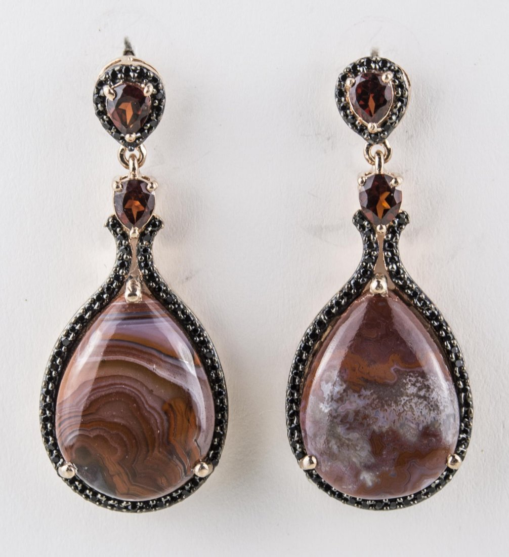 Pair of Agate, Spinel and Garnet Earrings