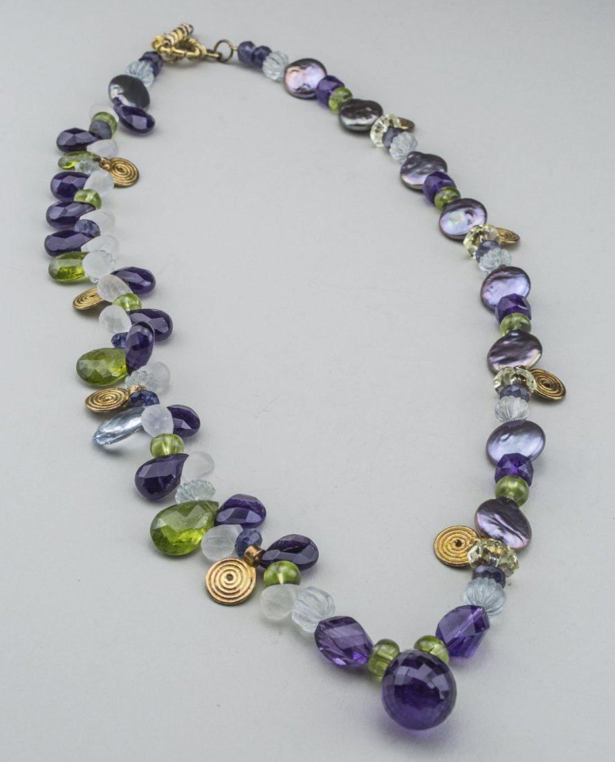 Amethyst and Peridot Bead Pendant Necklace