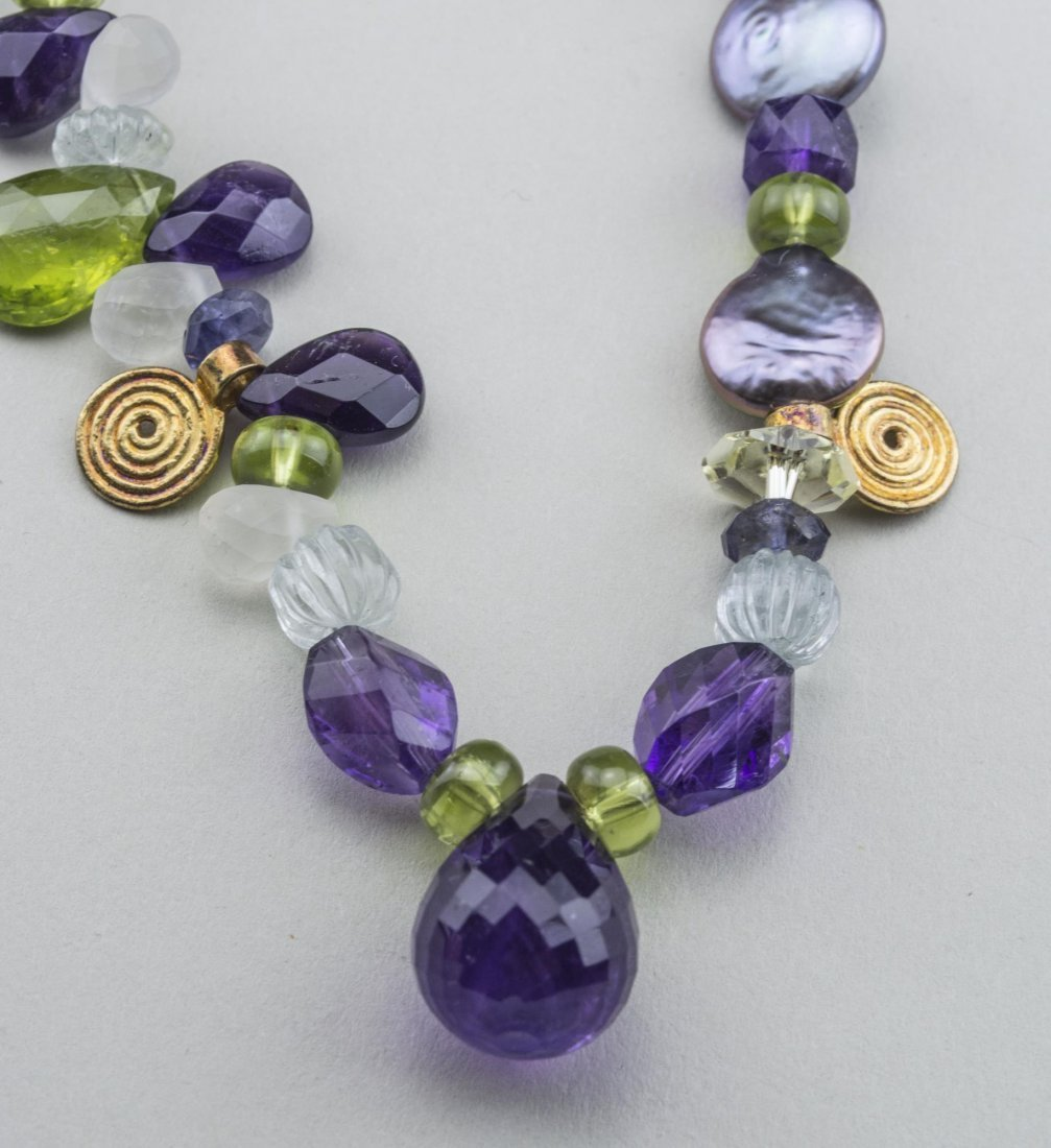 Amethyst and Peridot Bead Pendant Necklace - 2