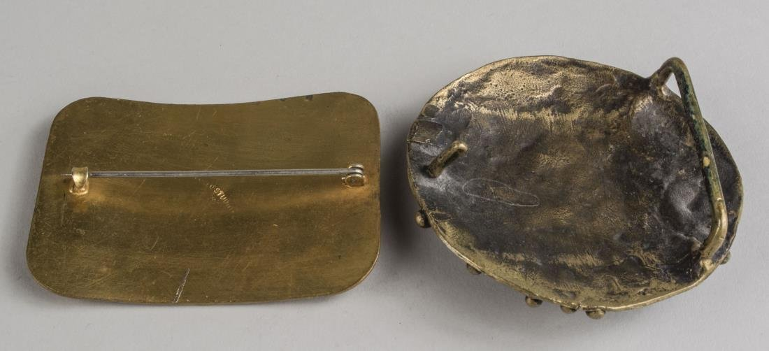 Brass Belt Buckle and Brooch - 2