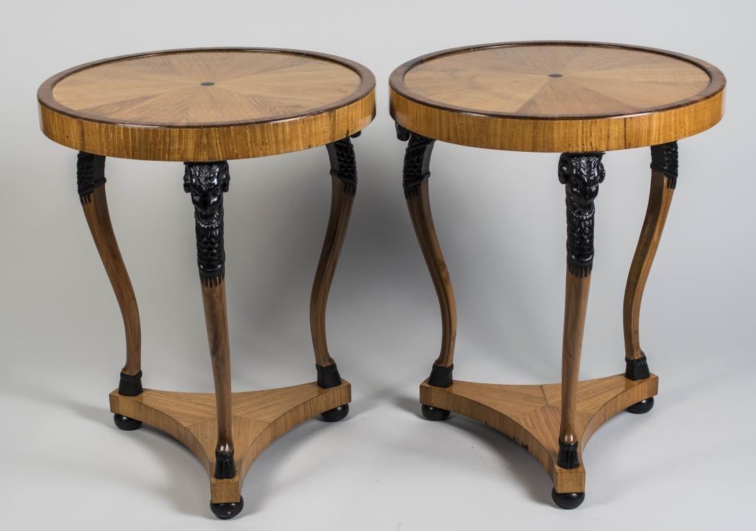 Pair of Parcel Ebonized Ram's Head Tables