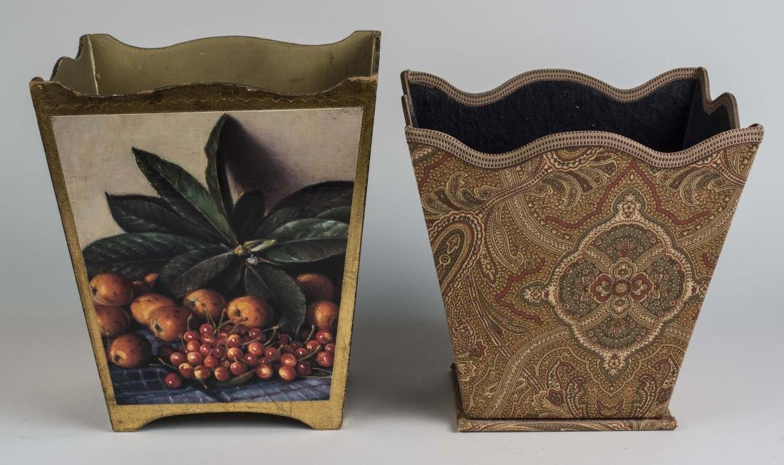 Two Decorative Waste Paper Baskets