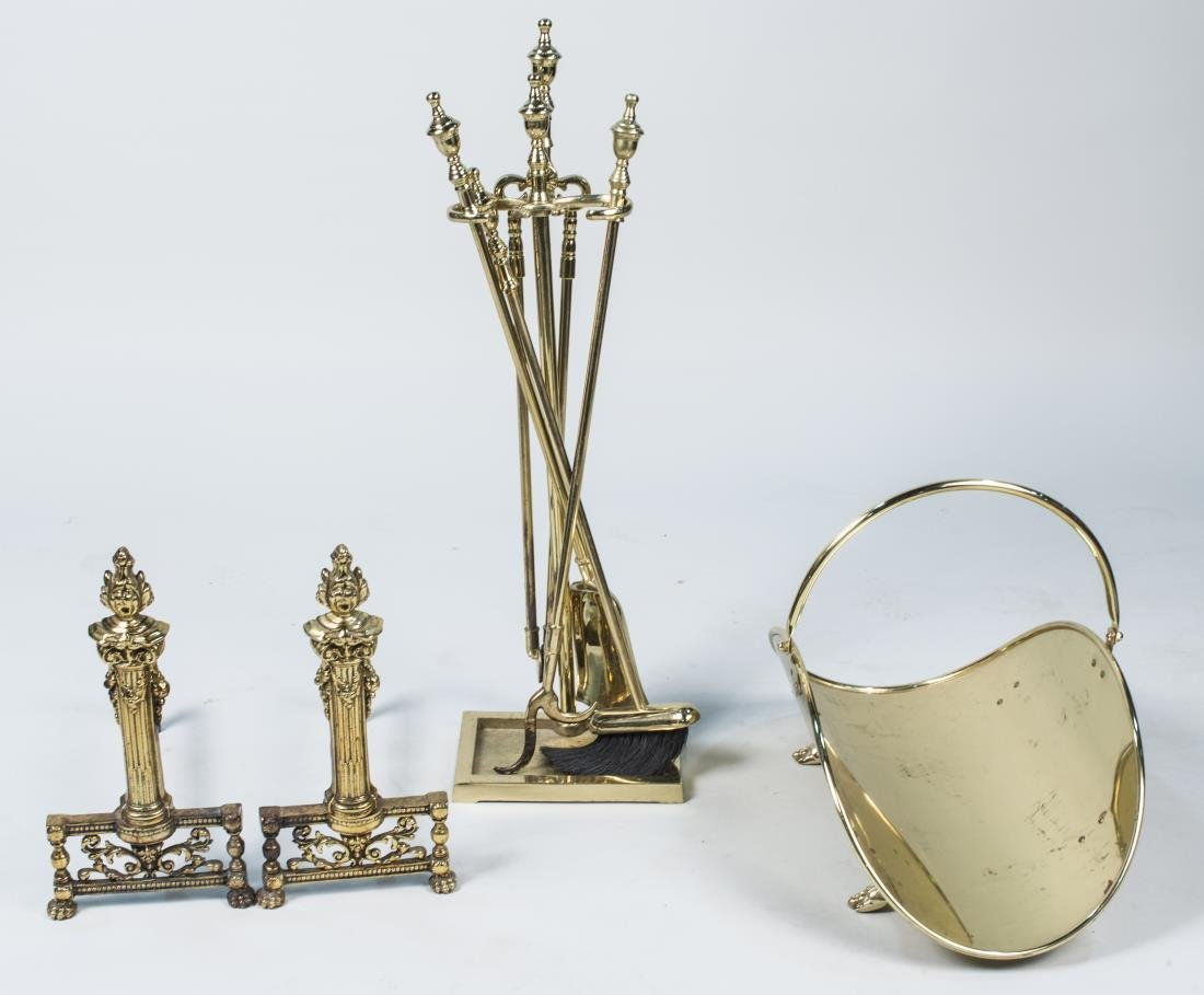 Brass Andirons and Fire Place Tools
