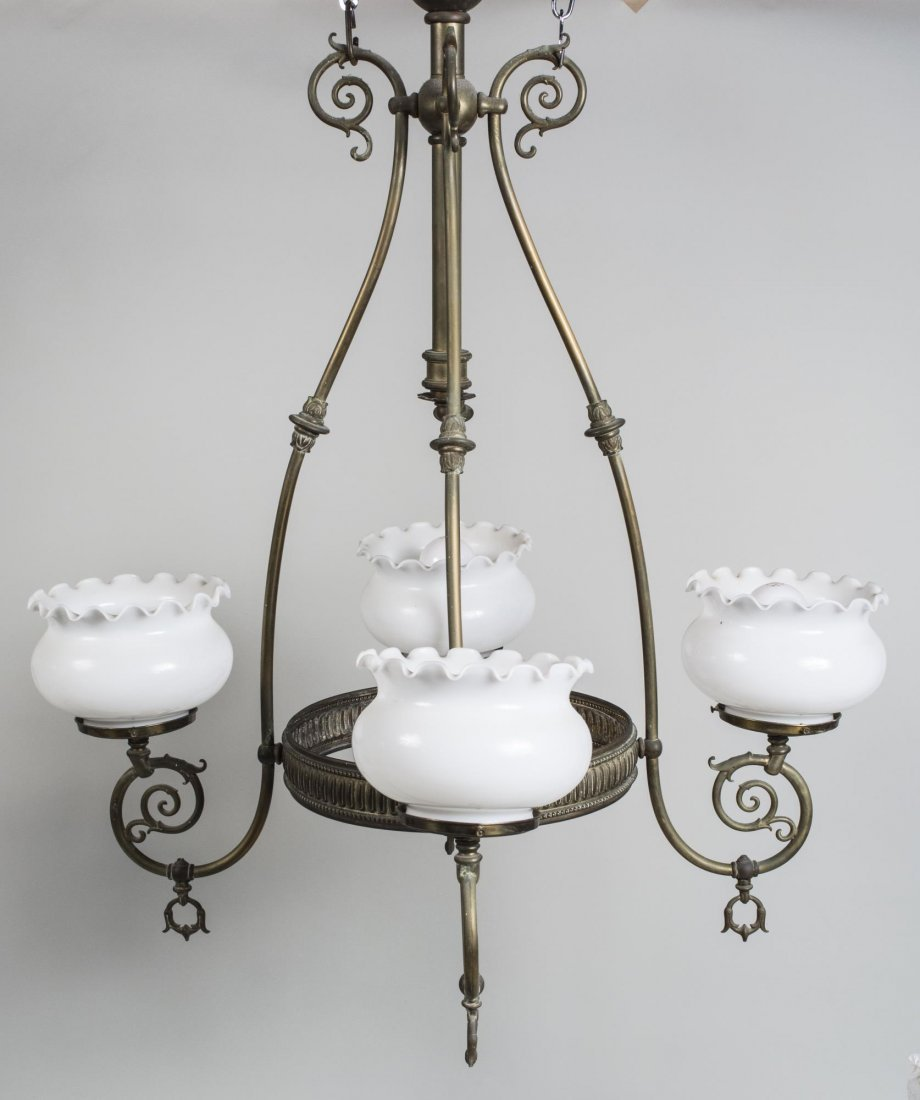 Scrolled Brass Four Light Chandelier