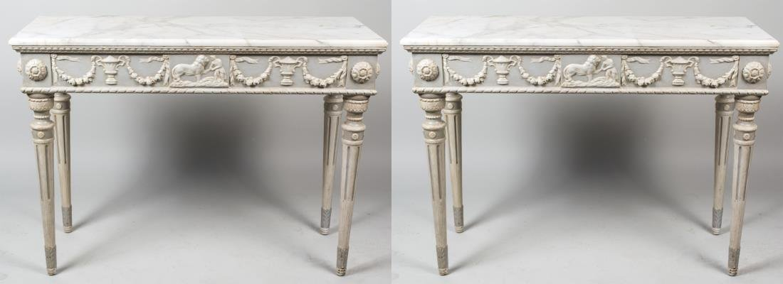 Pair of Painted Marble Top Console Tables