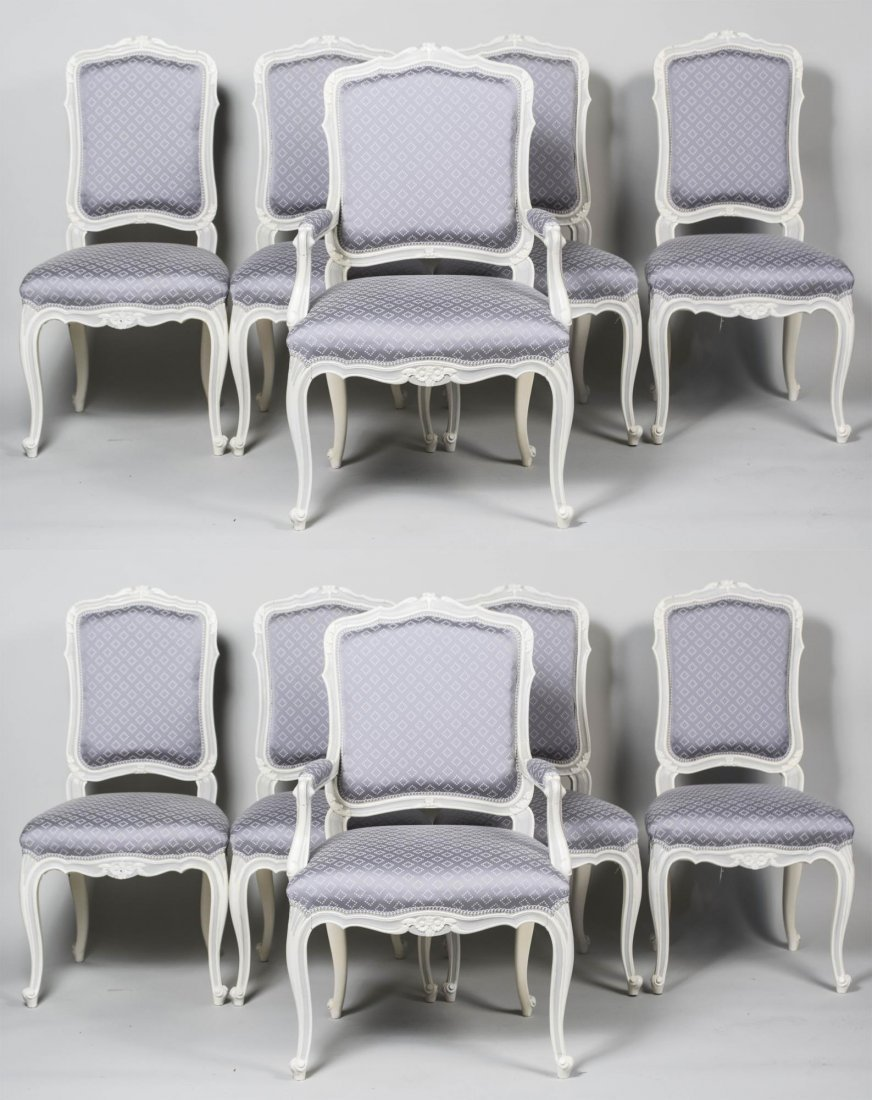 Set of Ten Louis XV Style Painted Chairs