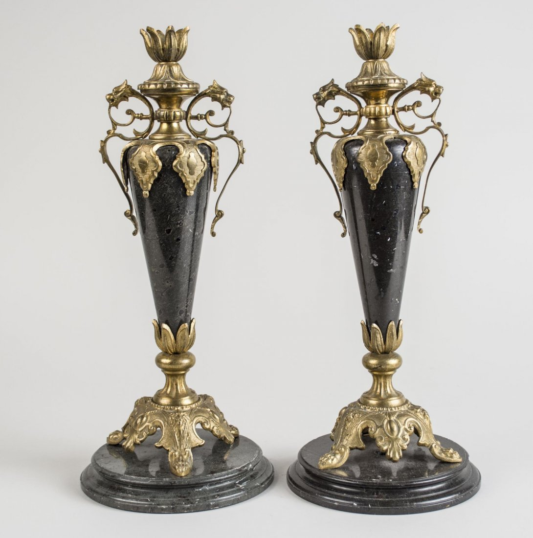 Pair of French Gilt Metal Mounted Candlesticks