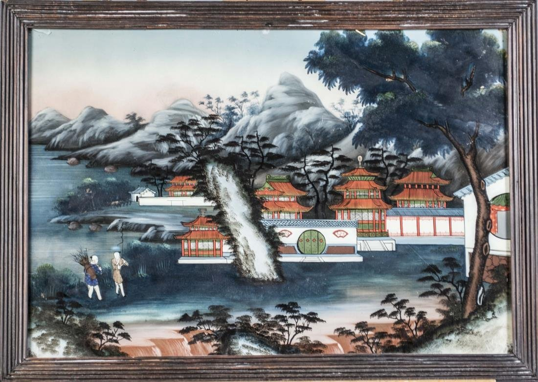 Chinese Reverse Painted Glass Landscape