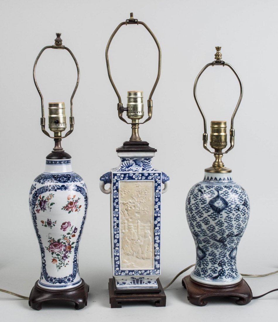 Three Chinese Porcelain Lamps