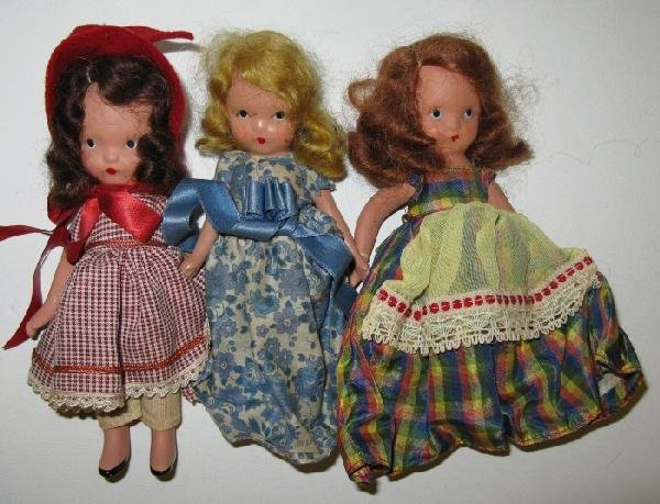"16: Lot of 3 Vintage 5 ""Story Book Dolls"