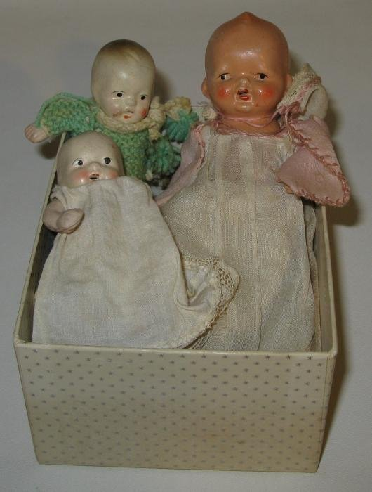 23: Lot of 4 Vintage Painted Bisque Babies