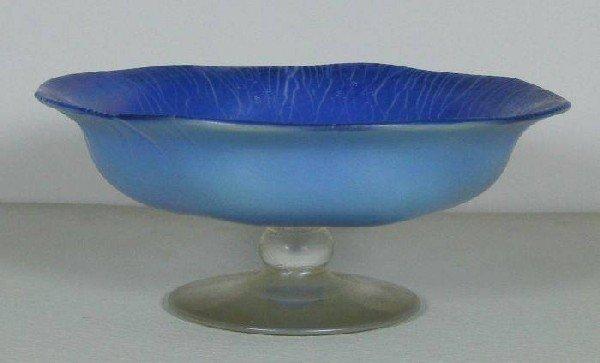 2002: Blue irredescent Tiffany miniature compote