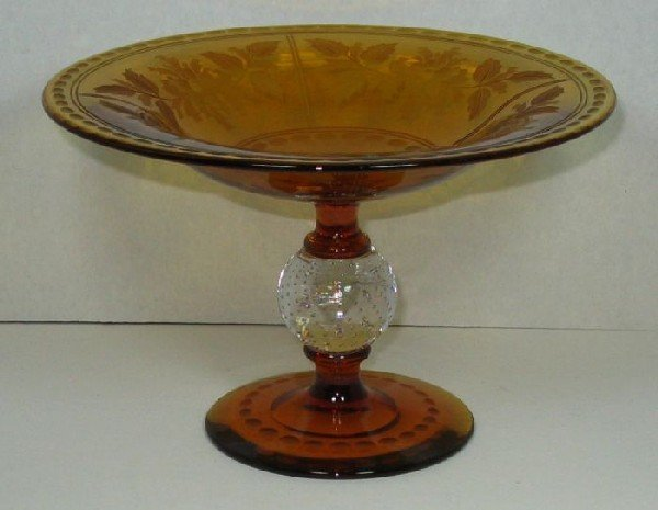 2011: Pairpoint amber acid-cut glass compote