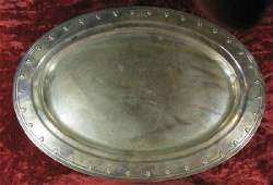 2071: Oval sterling silver tray