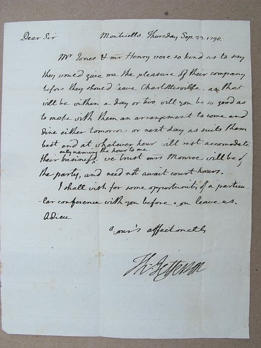 4116: T. Jefferson, 1790 letter to J. Monroe