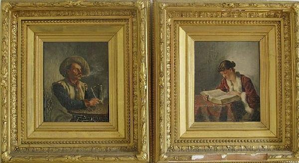 6018: Pair of portraits of Woman Reading and Gentleman