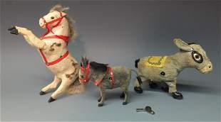 3 MECHANICAL WINDUP TOYS 2 DONKEYS 1 HORSE
