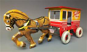 MARX TOYTOWN DAIRY WAGON & HORSE TIN WINDUP