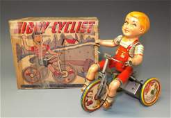 UNIQUE ART KIDDY CYCLIST TIN WINDUP & BOX