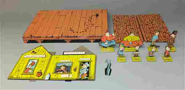 C&M TIN TOONERVILLE TROLLEY STATION w/8 FIGS