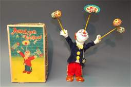 ALPS JAPAN JUGGLING CLOWN TIN WINDUP  BOX
