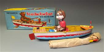 S&E JAPAN BEAR ROWBOAT TIN WINDUP & BOX