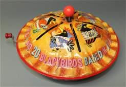 SCARCE MATTEL BLACK BIRD PIE TIN WINDUP