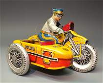 MARX POLICE MOTORCYCLE w/ SIDECAR WINDUP