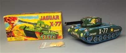 DAIYA JAGUAR X-77 TIN BATTERY OP TANK & BOX